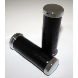 Poignée chromées/cuir 25.4mm