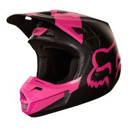 FOX V2 casque cross noir-rose mat S