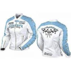 ICON KITTY veste cuir dame bleu L