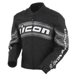 Icon veste cuir Daytona noir-blanc 3XL