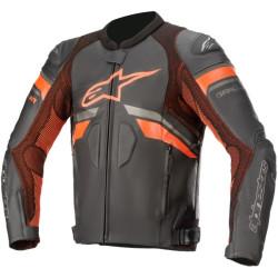 Alpinestars veste cuir GP Plus R V3 Rideknit noir fluo rouge 50