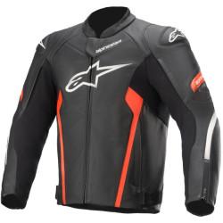Alpinestars veste cuir Faster V2 noir-rouge-fluo 48