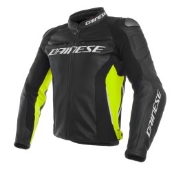 Dainese veste cuir Racing 3 noir-jaune fluo 56