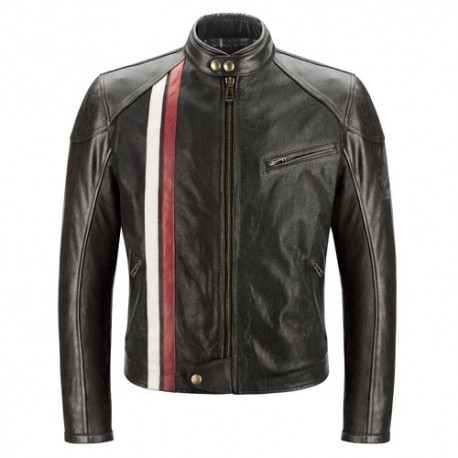 Belstaff veste cuir Seeley noir/rouge/ivoir L