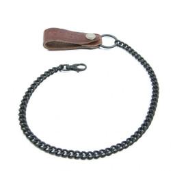 Helstons chaîne Portefeuille cuir brun