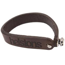 Helstons bracelet Skull cuir marron
