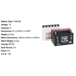 Batterie YTX9 BS YUASA